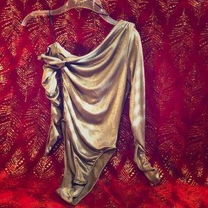 Asymmetrical Metallic Silver Leotard/Body Suit